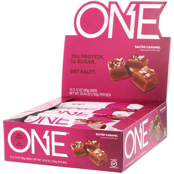 One Brands, ONE Bar, Salted Caramel, 12 Bars, 2.12 oz (60 g) Each (Discontinued Item)