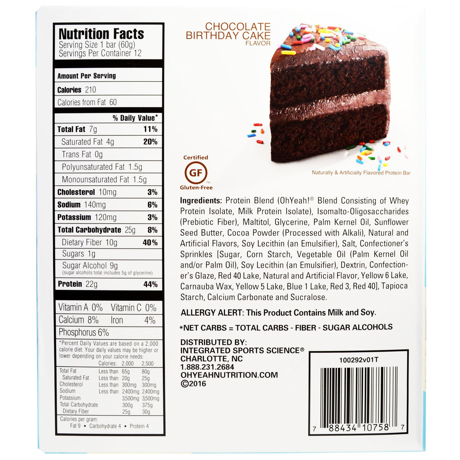 Oh Yeah One Bar Chocolate Birthday Cake 12 Bars 212 oz 60 g