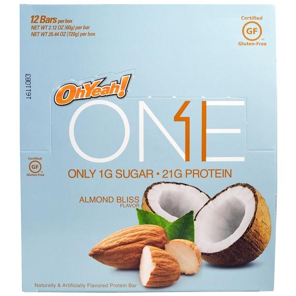 Oh Yeah!, One Bar, Almond Bliss, 12 Bars, 2.12 oz (60 g) Each