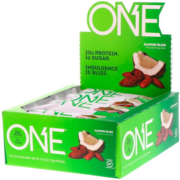 ONE Bar, Almond Bliss, 12 Bars, 2.12 oz (60 g) Each