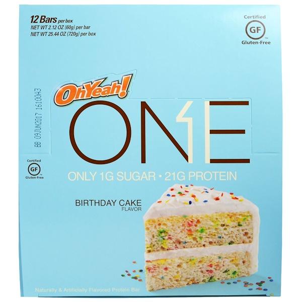 Oh Yeah!, One Bar, Birthday Cake, 12 Bars, 2.12 oz (60 g) Each