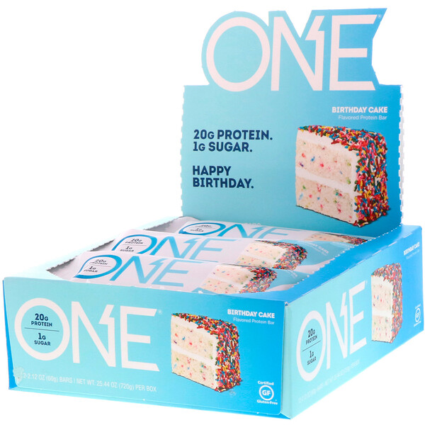 ONE Bar, Birthday Cake, 12 Bars, 2.12 oz (60 g) Each