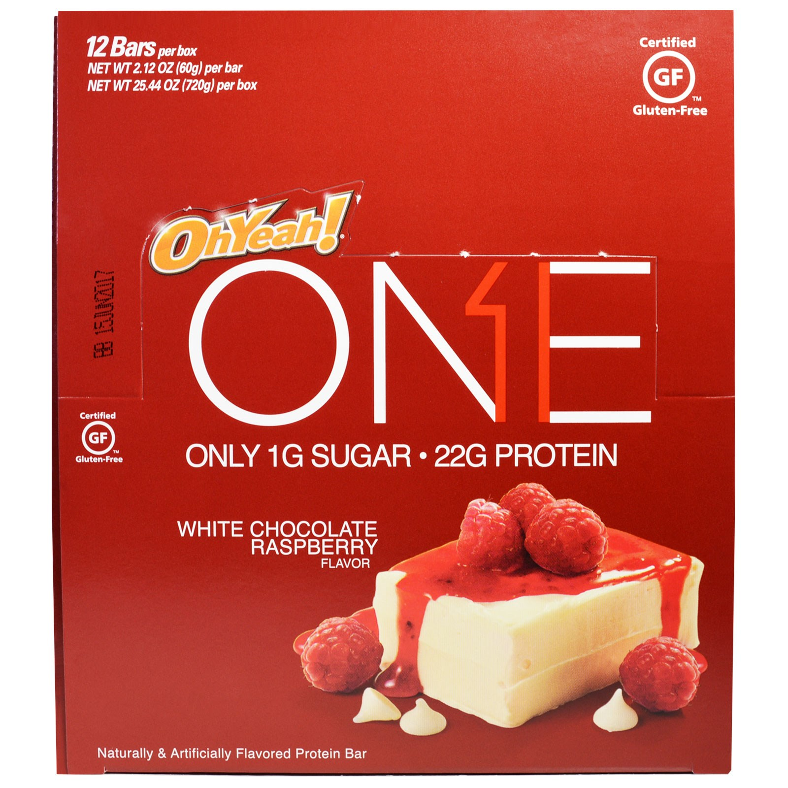 Oh Yeah!, One Bar, White Chocolate Raspberry, 12 Bars, 2.12 oz (60 g) Each