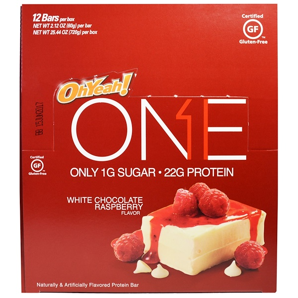 One Brands, One Bar, White Chocolate Raspberry, 12 Bars, 2.12 oz (60 g) Each (Discontinued Item)
