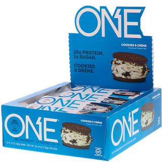 One Brands, One Bar, Cookies & Cream, 12 Bars, 2.12 oz (60 g) Each