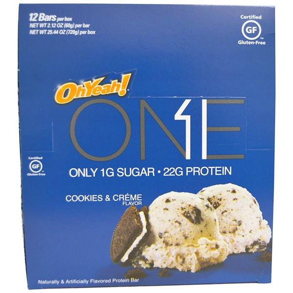 Oh Yeah!, One Bar, Cookies & Cream, 12 Bars, 2.12 oz (60 g) Each