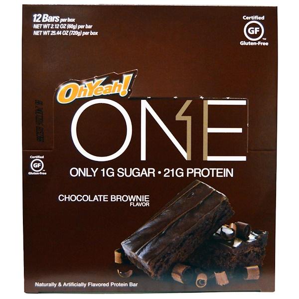 Oh Yeah!, One Bar, Chocolate Brownie Flavor, 12 Bars, 2.12 oz (60 g) Each