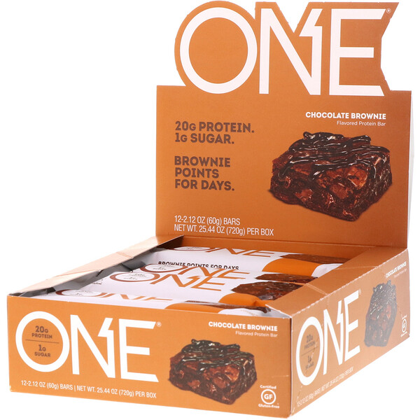ONE Bar, Chocolate Brownie, 12 Bars, 2.12 oz (60 g) Each