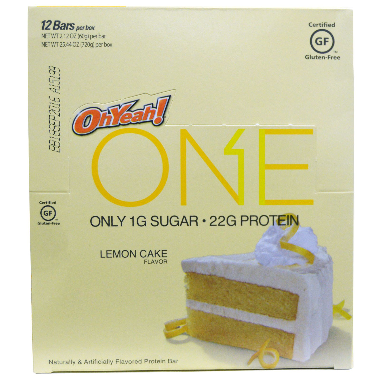 Oh Yeah!, One, со вкусом лимонного пирога, 12 батончиков по 2.12 унций (60 г)