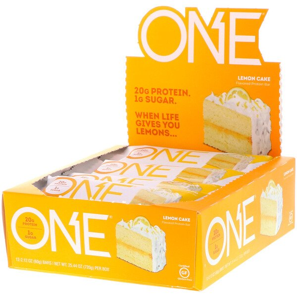 One Brands, Barra One, Torta de Limão, 12 Barras, 2,12 oz (60 g) Cada