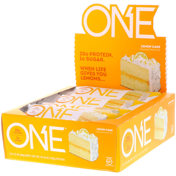 ONE Bar, Lemon Cake, 12 Bars, 2.12 oz (60 g) Each