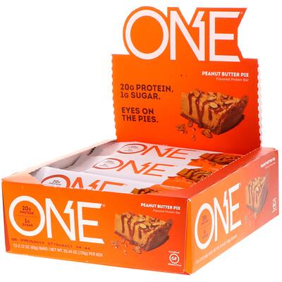 Фото - Батончики One, со вкусом пирога с арахисовым маслом , 12 батончиков по 2.12 унции (60 г) premium nutrition bars хрустящие ириски с арахисовым маслом 15 батончиков по 2 унции 57 г каждый
