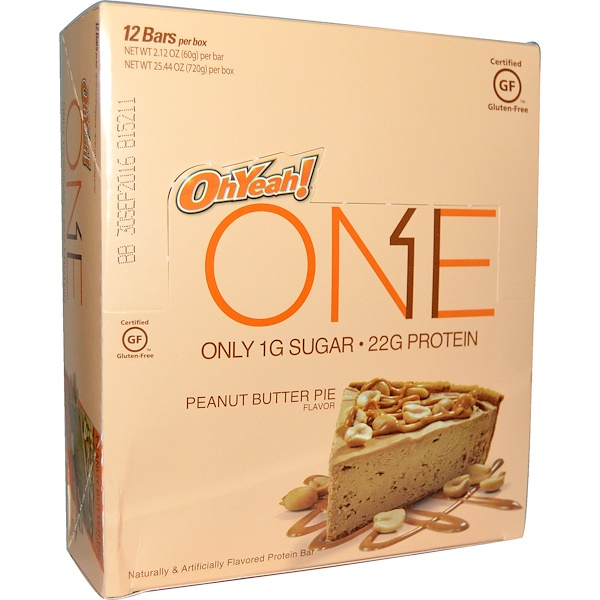 Oh Yeah!, One Bar, Peanut Butter Pie Flavor, 12 Bars, 2、12 oz (60 g) Each