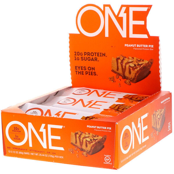 One Brands, ONE Bar, Peanut Butter Pie Flavor, 12 Bars, 2.12 oz (60 g) Each