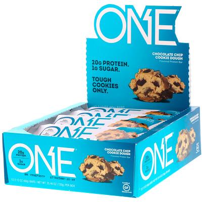 цена на One Bar, тесто печенья с шоколадной крошкой, 12 баточников, 2,12 унц. (60 г) каждый