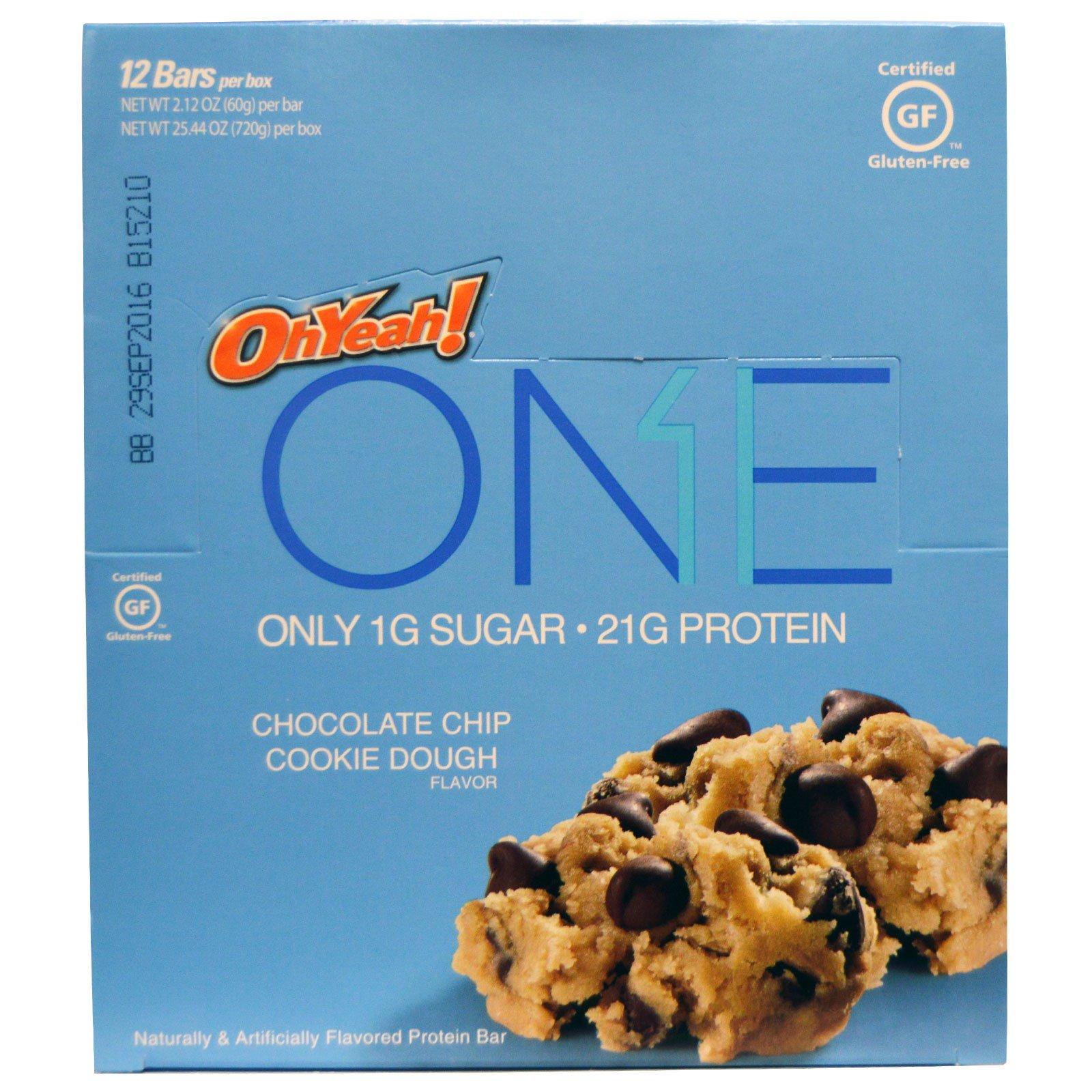 Oh Yeah!, One Bar, Chocolate Chip Cookie Dough Flavor, 12 Bars, 2.12 oz (60 g) Each
