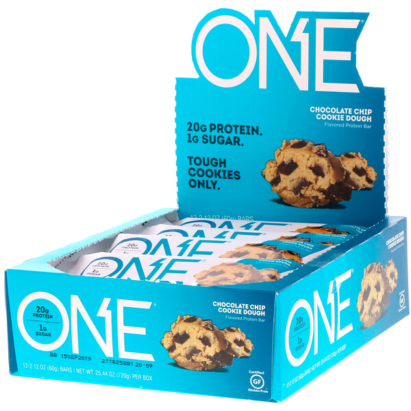 ONE Bar, Chocolate Chip Cookie Dough, 12 Bars, 2.12 oz (60 g) Each