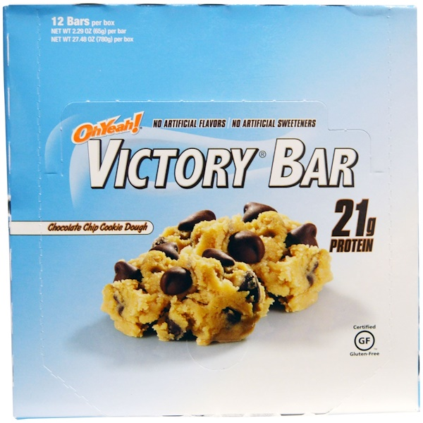 One Brands, Victory Bar, Chocolate Chip Cookie Dough, 12 Bars, 2.29 oz (65 g) Each (Discontinued Item)