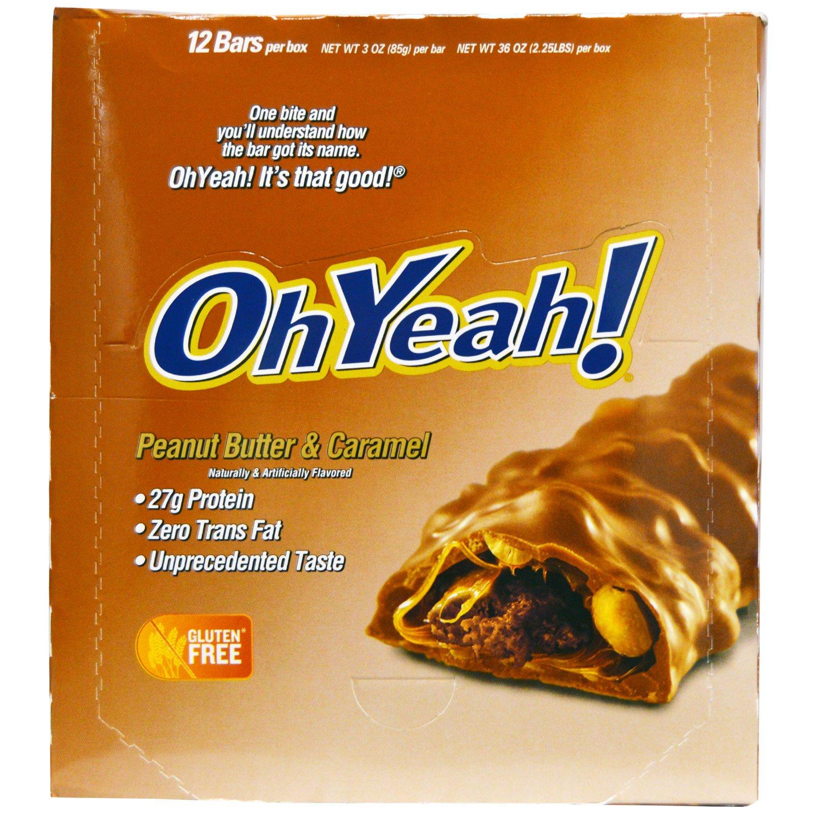 Oh Yeah!, Протеиновые батончики, Арахисовое масло & карамель, 12 батончиков, 3 унции (85 г)