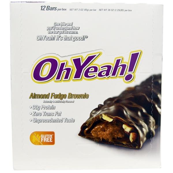 Oh Yeah!, Almond Fudge Brownie, 12 Bars - 3 oz (85 g) Each