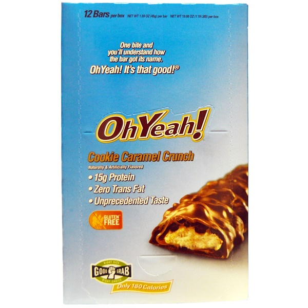 Oh Yeah!, Protein Bars, Cookie Caramel Crunch, 12 Bars, 1.59 oz (45 g) Per Bar (Discontinued Item)