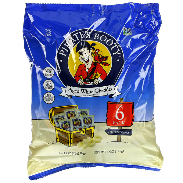 Rice & Corn Puffs, Aged White Cheddar, 6 Pack, 1 oz (28 g) Each