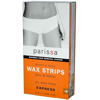 Parissa, Natural Hair Removal System, Wax Strips, Face & Bikini, 16 (8x2 Sided) Strips