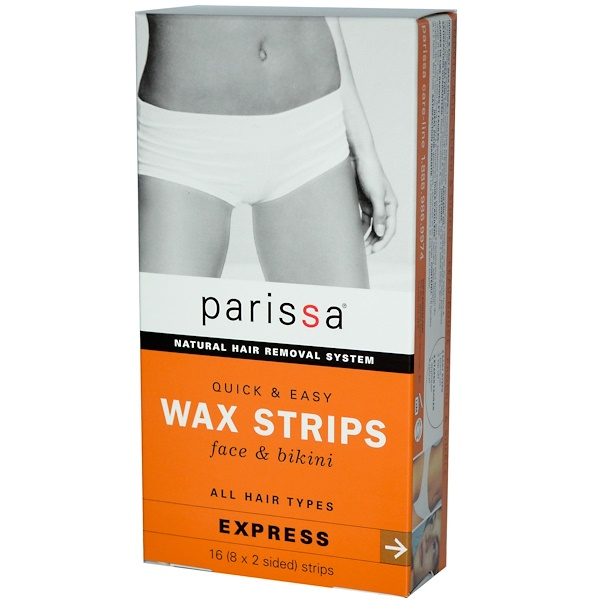 Parissa, Natural Hair Removal System, Wax Strips, Face & Bikini, 16 (8x2 Sided) Strips (Discontinued Item)