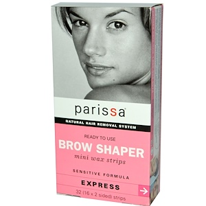 Парисса, Natural Hair Removal System, Brow Shaper, Mini Wax Strips, 32 (16 x 2 sided) Strips отзывы