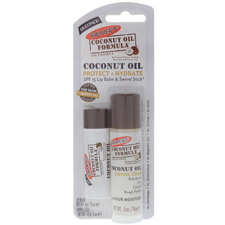 Palmer's, Coconut Oil Formula, Coconut Oil, Lip Balm & Swivel Stick, SPF 15, 2 Pack