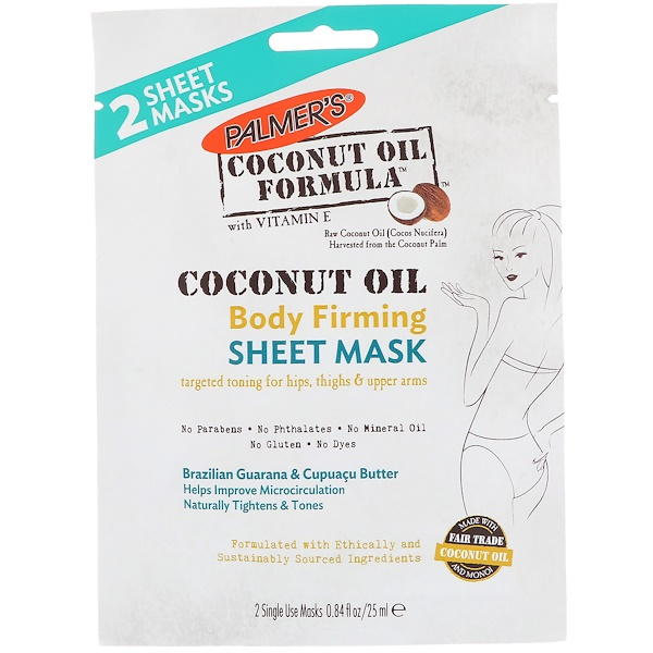 Palmer's, Coconut Oil, Body Firming Sheet Mask, 2 Sheet Masks, 0.84 fl oz (25 ml) (Discontinued Item)