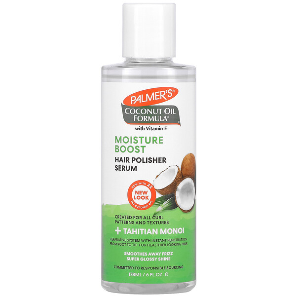 Coconut Oil Formula with Vitamin E, Moisture Boost Hair Polisher Serum, 6 fl oz (178 ml)