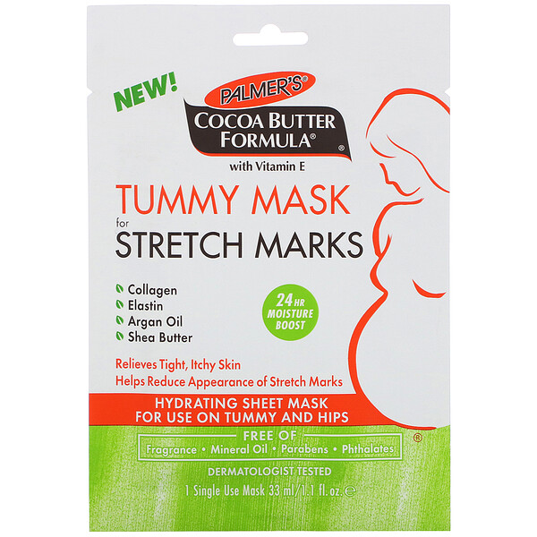 Cocoa Butter Formula, Tummy Mask for Stretch Marks, 1 Single Use Mask, 1.1 fl oz (33 ml)