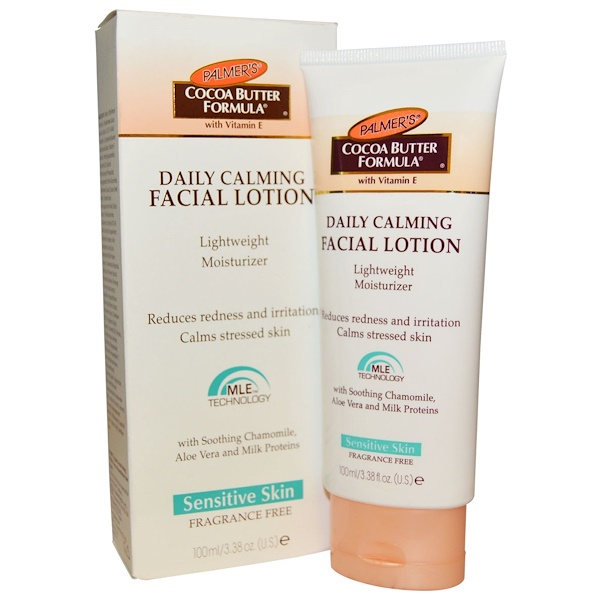 Palmer's, Cocoa Butter Formula, Дневной успокаивающий лосьон для лица, для чувствительной кожи, без запаха, 3,38 унции (100 мл) (Discontinued Item)
