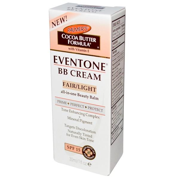 Palmer's, Eventone, BB Cream, Cocoa Butter Formula, Fair/Light, SPF 15, 1 fl oz (30 ml) (Discontinued Item)