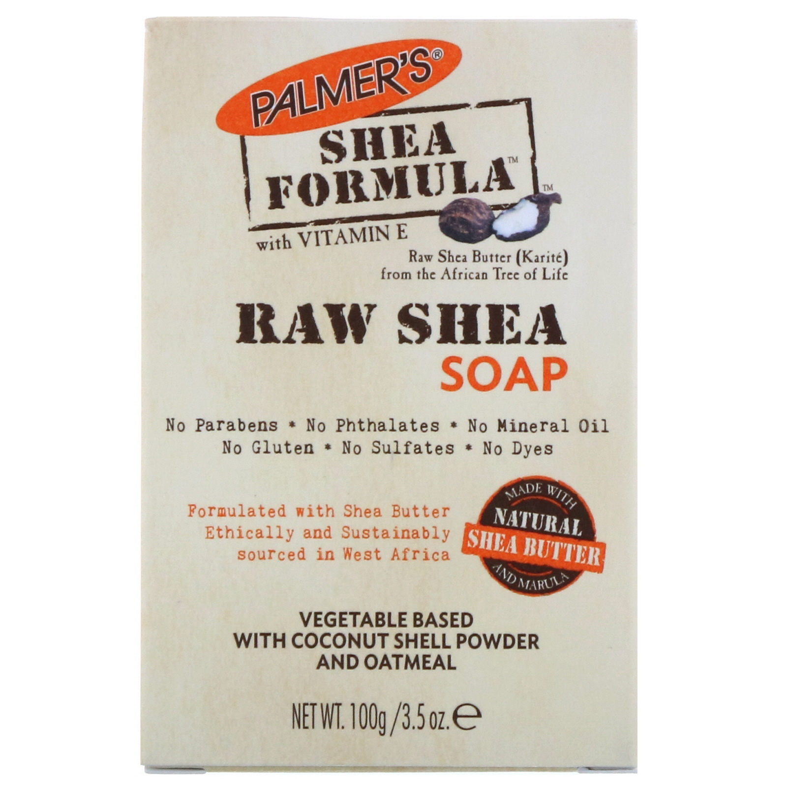 Palmer's, Shea Formula, Raw Shea Soap, with Vitamin E, 3 5 oz (100 g