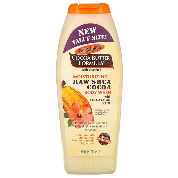 Cocoa Butter Formula, Moisturizing Raw Shea Cocoa Body Wash, with Cocoa Cream Scent, 17 fl oz (500 ml)
