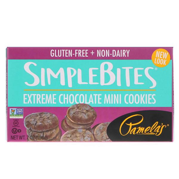 Pamela's Products, Simplebites, Extreme Chocolate Mini Cookies, 7 oz (198 g)