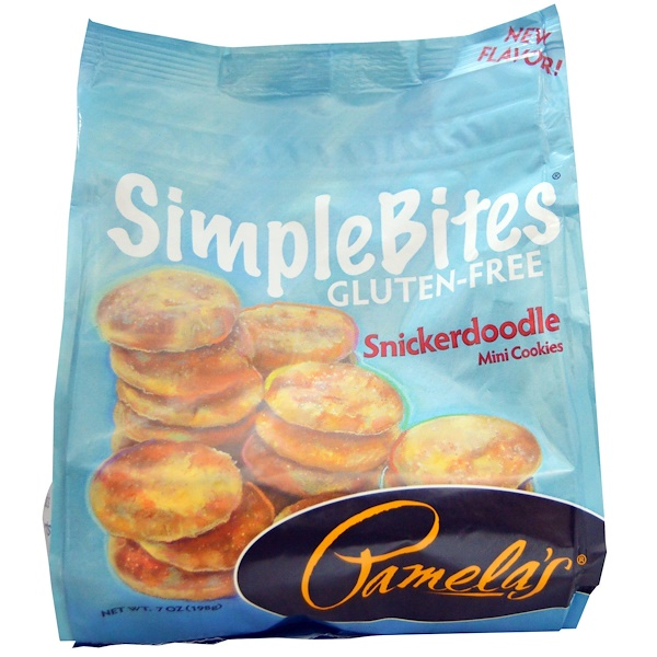 Pamela's Products, Simplebites, Snickerdoodle Mini Cookies, Gluten Free, 7 oz (198 g) (Discontinued Item)
