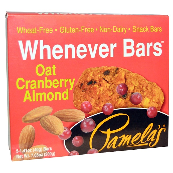 Pamela's Products, Whenever Bars, Oat Cranberry Almond, 5 Bars, 1、41 oz (40 g) Each