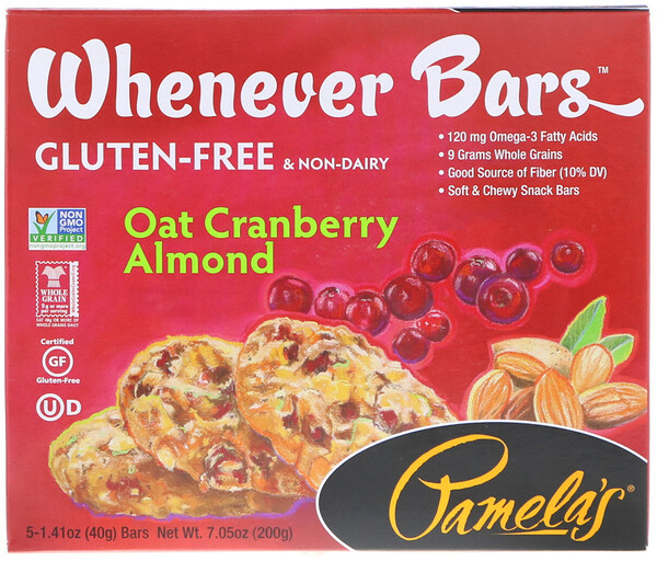 Pamela's Products, どこでもバー、オート・クランベリー・アーモンド、5本、各1.41 oz (40 g) (Discontinued Item)