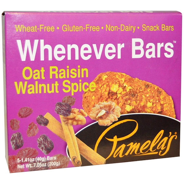 Pamela's Products, Whenever Bars, Oat Raisin Walnut Spice, 5 Bars, 1、41 oz (40 g) Each