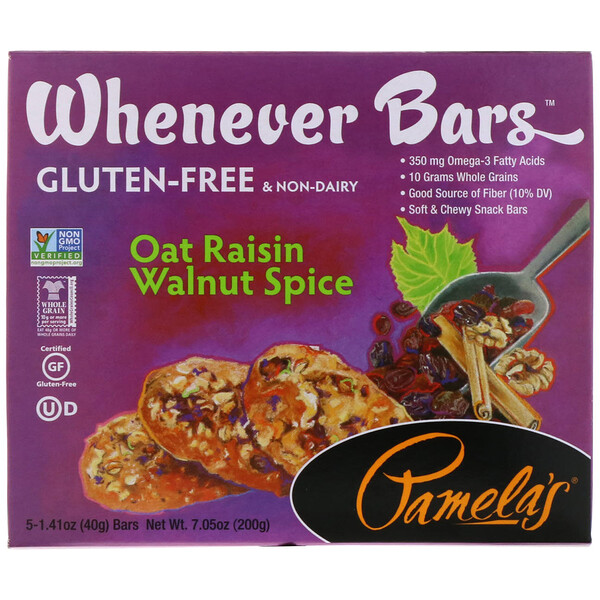 Pamela's Products, Whenever Bars, Oat Raisin Walnut Spice, 5 Bars, 1.41 oz (40 g) Each (Discontinued Item)
