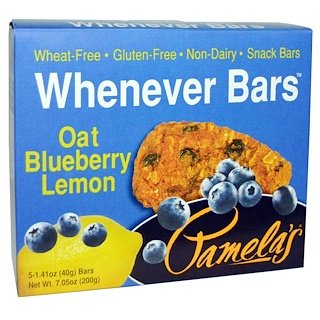 Pamela's Products, Whenever Bars, Gluten-Free, Oat Blueberry Lemon, 5 Bars, 1.41 oz (40 g) Each
