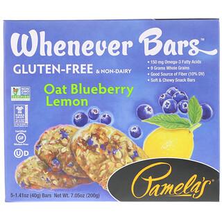 Pamela's Products, Whenever Bars, Oat Blueberry Lemon, 5 Bars, 1.41 oz (40 g) Each