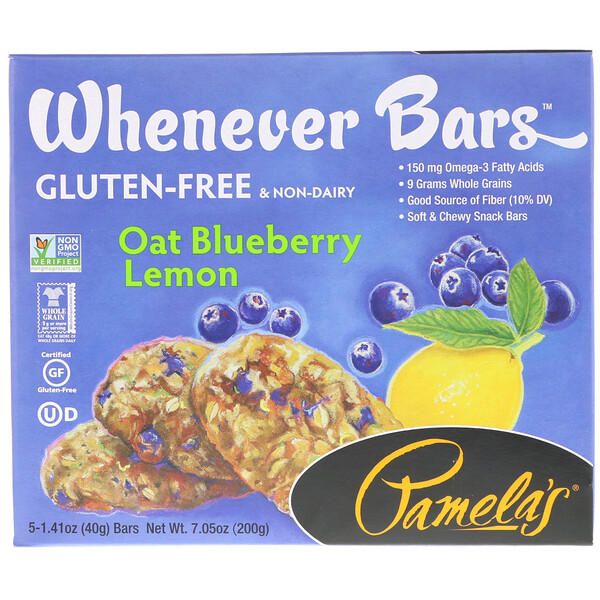 Pamela's Products, Whenever Bars, Oat Blueberry Lemon, 5 Bars, 1.41 oz (40 g) Each (Discontinued Item)