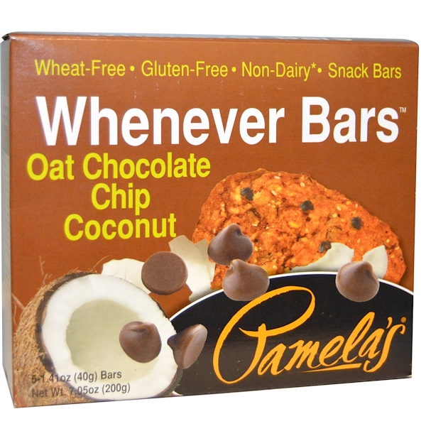 Pamela's Products, Whenever Bars, Oat Chocolate Chip Coconut, 5 Bars, 1、41 oz (40 g) Each