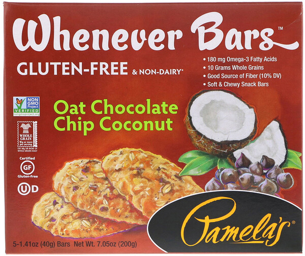 Pamela's Products, Whenever Bars, Oat Chocolate Chip Coconut, 5 Bars, 1.41 oz (40 g) Each (Discontinued Item)