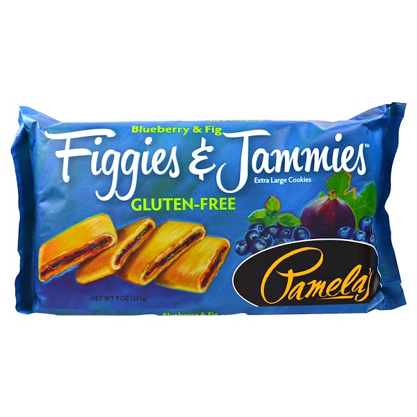 Pamela's Products, Figgies & Jammies, Extra Large Cookies, Blueberry & Fig, 9 oz (255 g) (Discontinued Item)