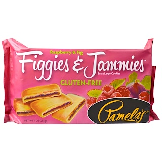 Pamela's Products, Figgies & Jammies, Extra Large Cookies, Raspberry & Fig, 9 oz (255 g)